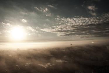 Rostock im Nebel