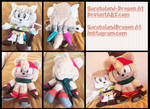 COMMISSIONS: Marshmallow and Bark Plush Dolls by Sarasaland-Dragon