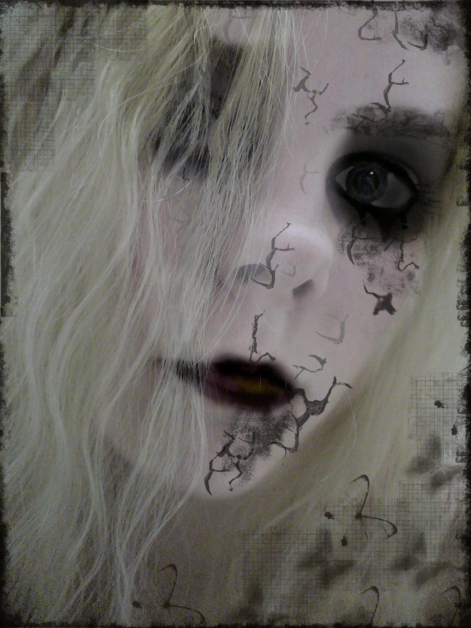 Halloween broken doll makeup