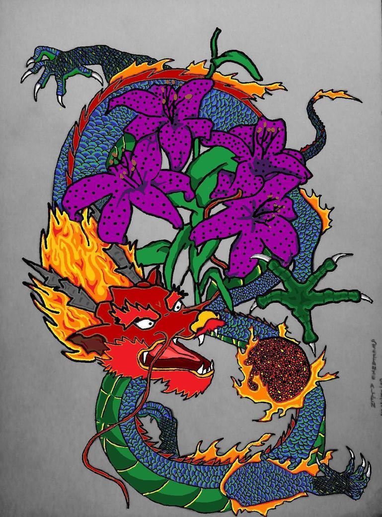 Dragon lily tattoo by crimsonsakura12 on deviantart for Dragon lily tattoo