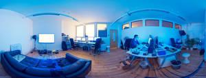 360 Panarama of working late.