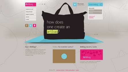 Web design for web application ARTBAG