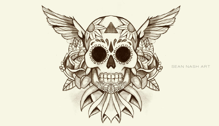 Skull and wings stencil