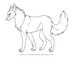 wolf lineart by golden-wolfox