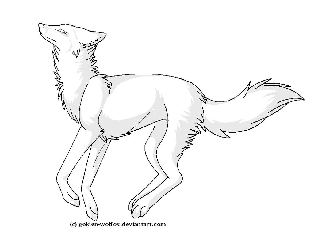 Running Wolf Lineart By Goldenwolfox