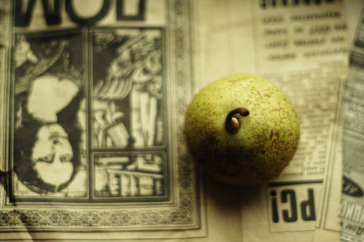 old papers and a new pear