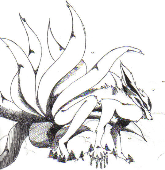 tails the fox coloring pages - nine tailed fox naruto drawing