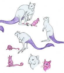 Mew and Mewtwo by DragonlordRynn