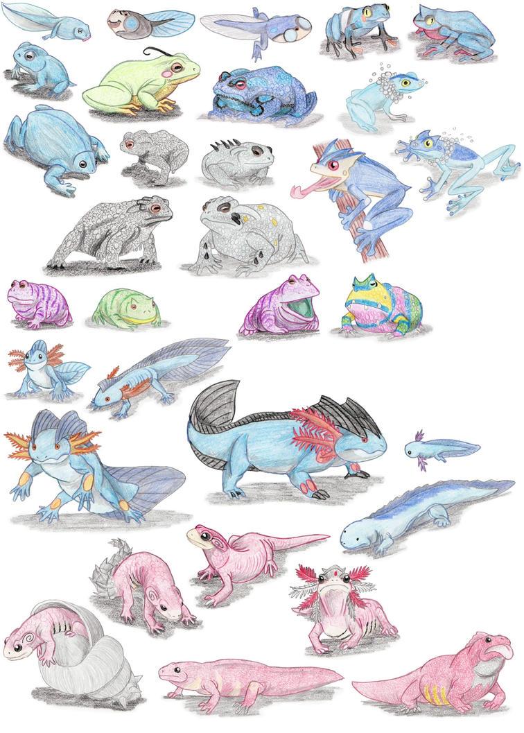 Amphibian Pokemon by DragonlordRynn
