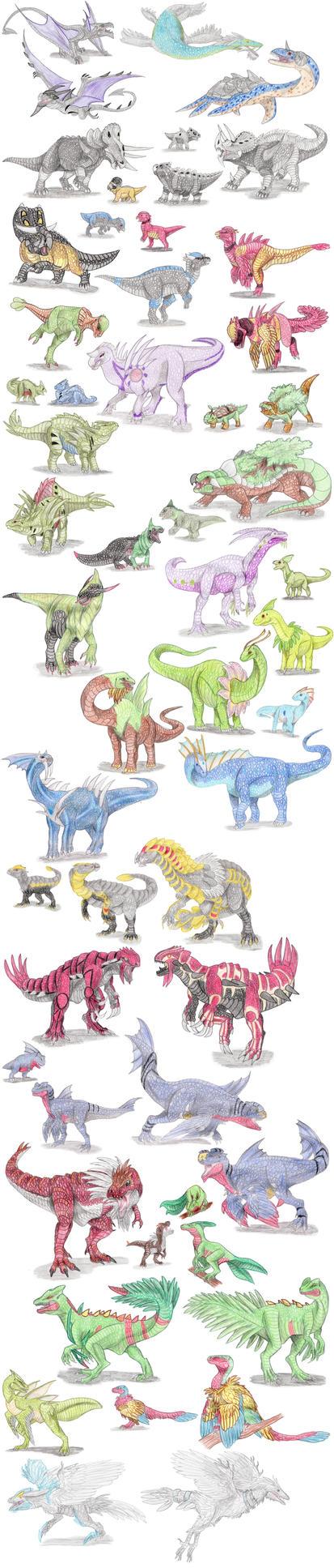 Dinosaur Pokemon by DragonlordRynn
