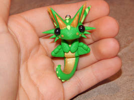 Green Sitting Dragon Charm by XDtheBEASTXD