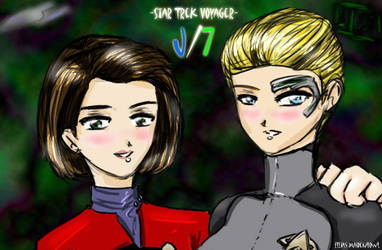 Voyager Janeway and Seven by ElliasMaidenhowl