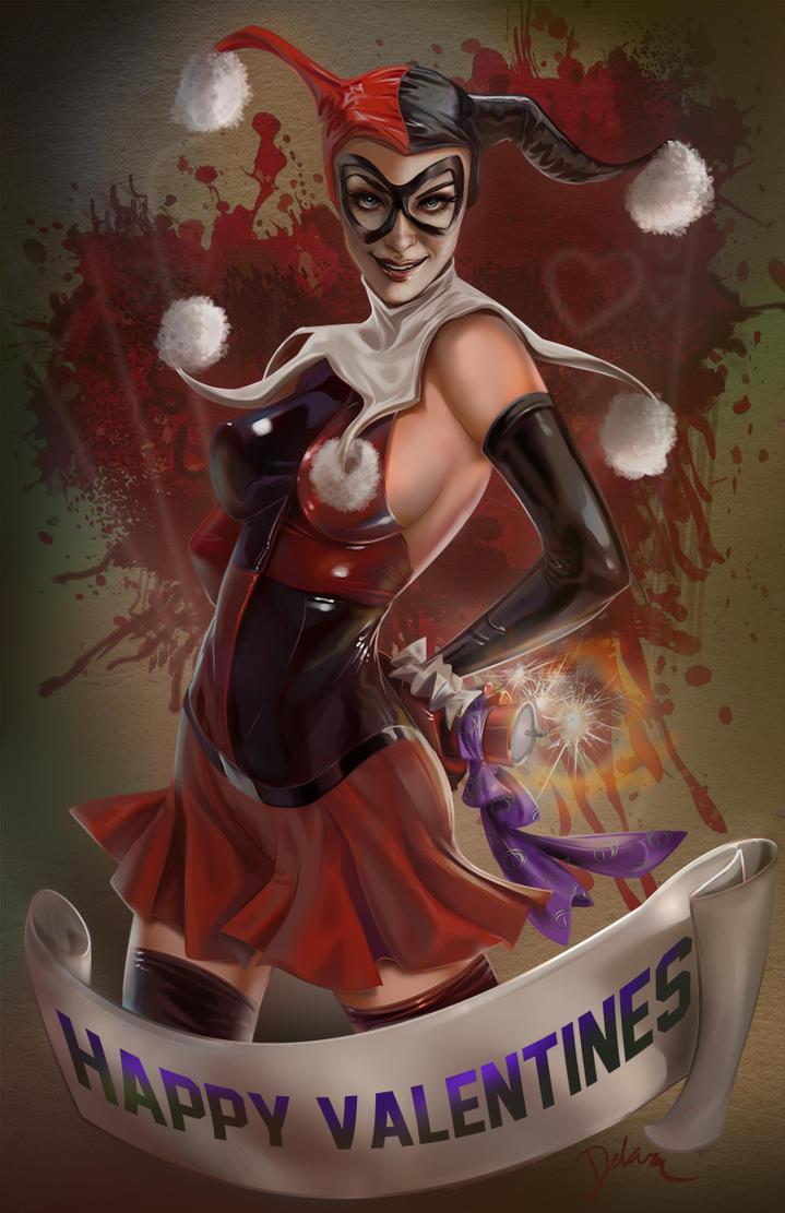 Harley Quinn Valentines FanArt by CrisDelaraArt