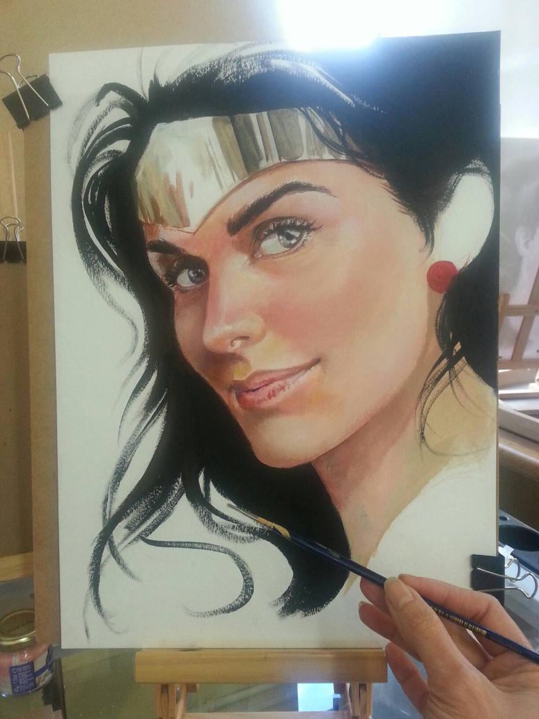 WW in acrylics (wip) by CrisDelaraArt