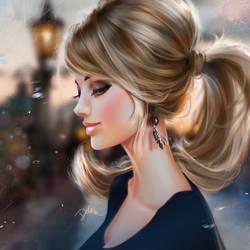 Profile Girl by DelarasArt