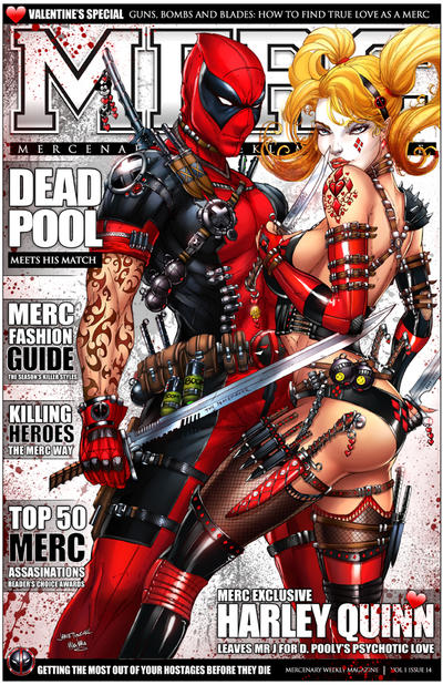 Deadpool + Harley Quinn on MERC Magazine by jamietyndall