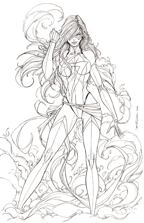 Line Art Marvel : Miss marvel commission lineart by jamietyndall on deviantart