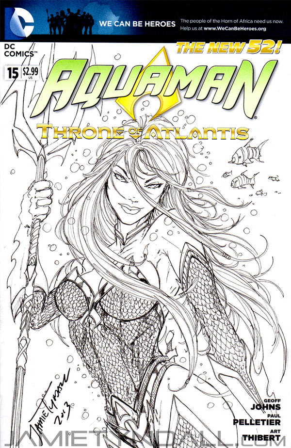 Book Cover Art Commission ~ Female aquaman sketch cover commission by jamietyndall on
