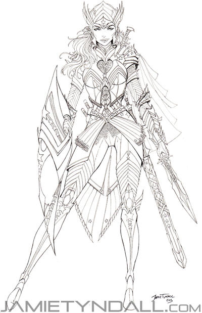 Wonder Woman in elven armor - lineart by jamietyndall