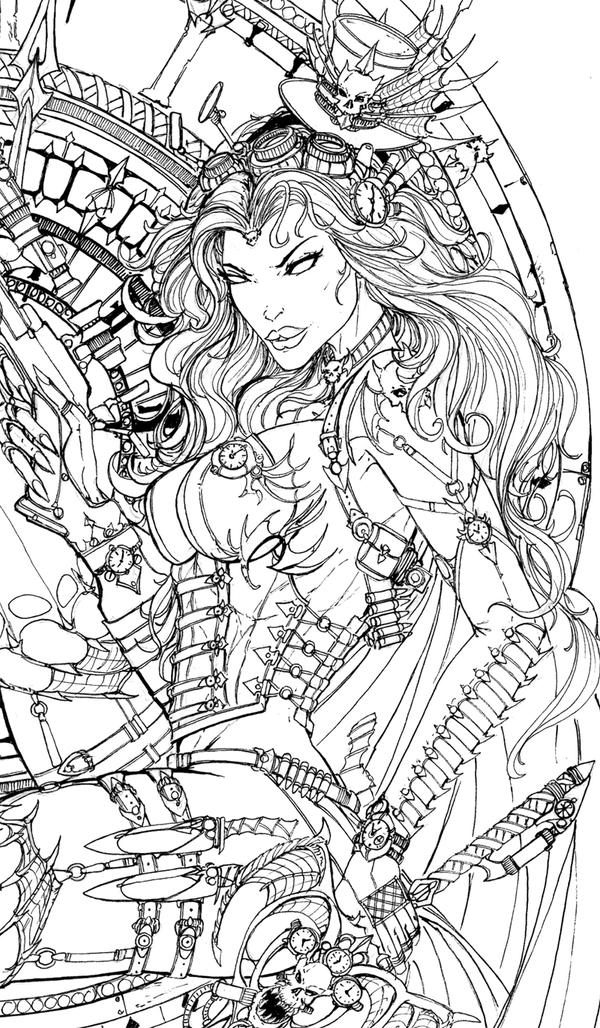 black death coloring pages | LadyDeath SteamQueen ink lady by jamietyndall on DeviantArt