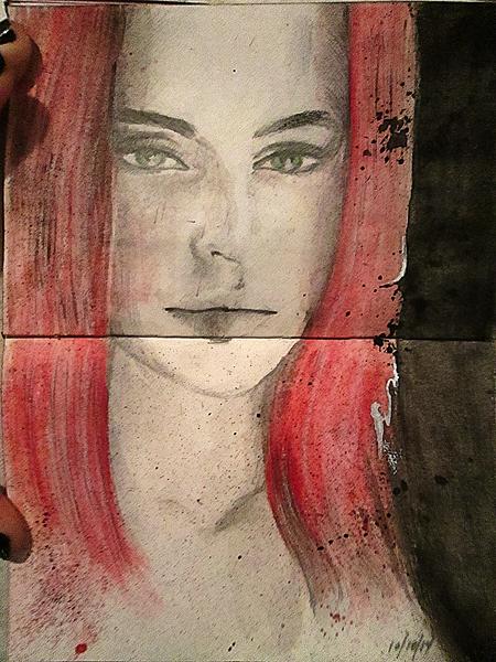 Watercolor-Ink Girl by DeeMo247