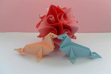 Origami Valentine's Day by fleecyblue