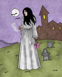 Gothic Heroine on her smoke break by B-GroveArt