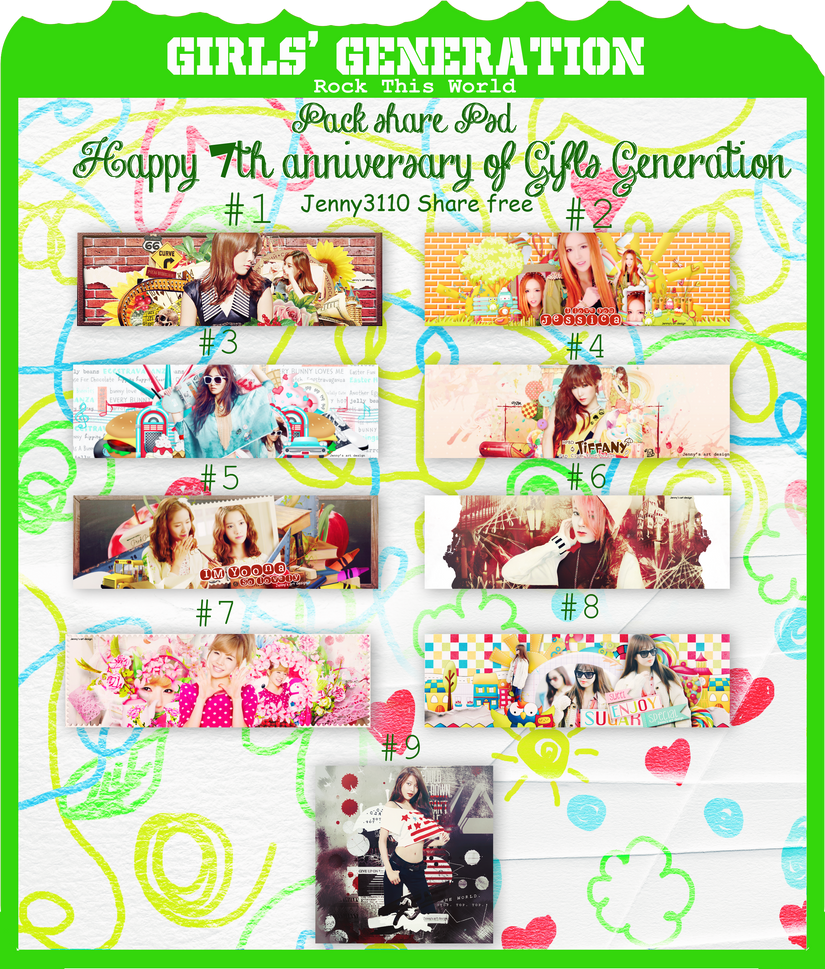 [Share free PSD]: Happy 7th Anniversary of SNSD by Jenny3110