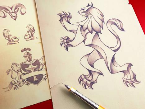 Heraldry Pencil Illustration ramotion