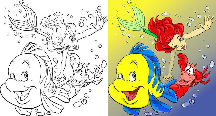 Ariel Sebastian And Flounder By Kristollini On Deviantart