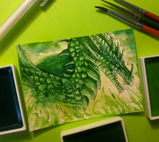 60. ACEO - Green Dragon by Tir-Goldeness