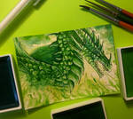 60. ACEO - Green Dragon
