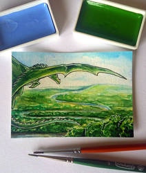 61. ACEO - Green Dragon by Tir-Goldeness