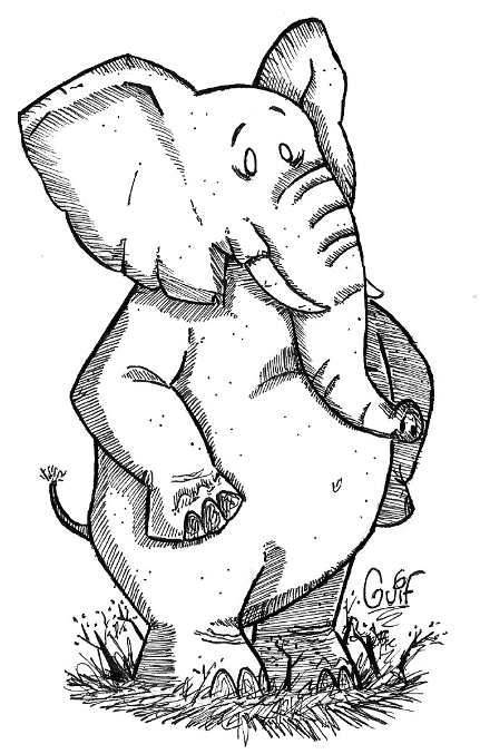 Inktober #4 - An Elephant by Guilll