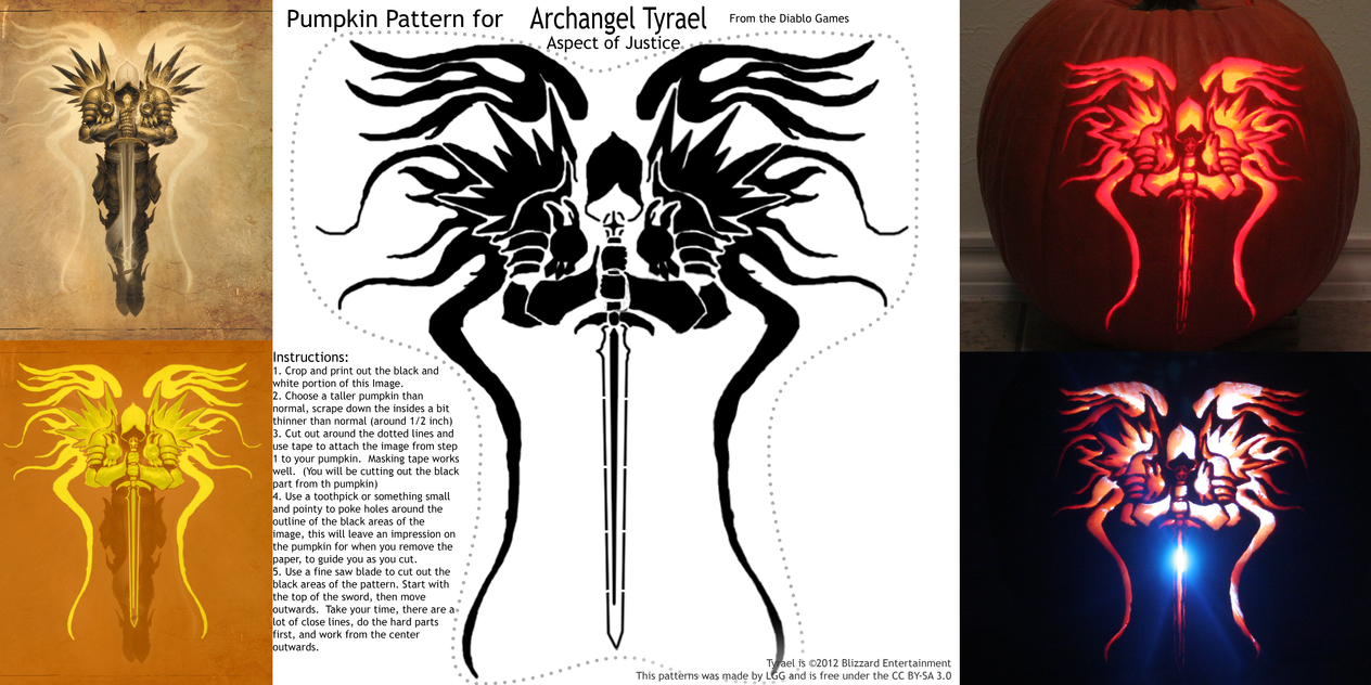 Tyrael Pumpkin Pattern from Diablo by lordgreggreg