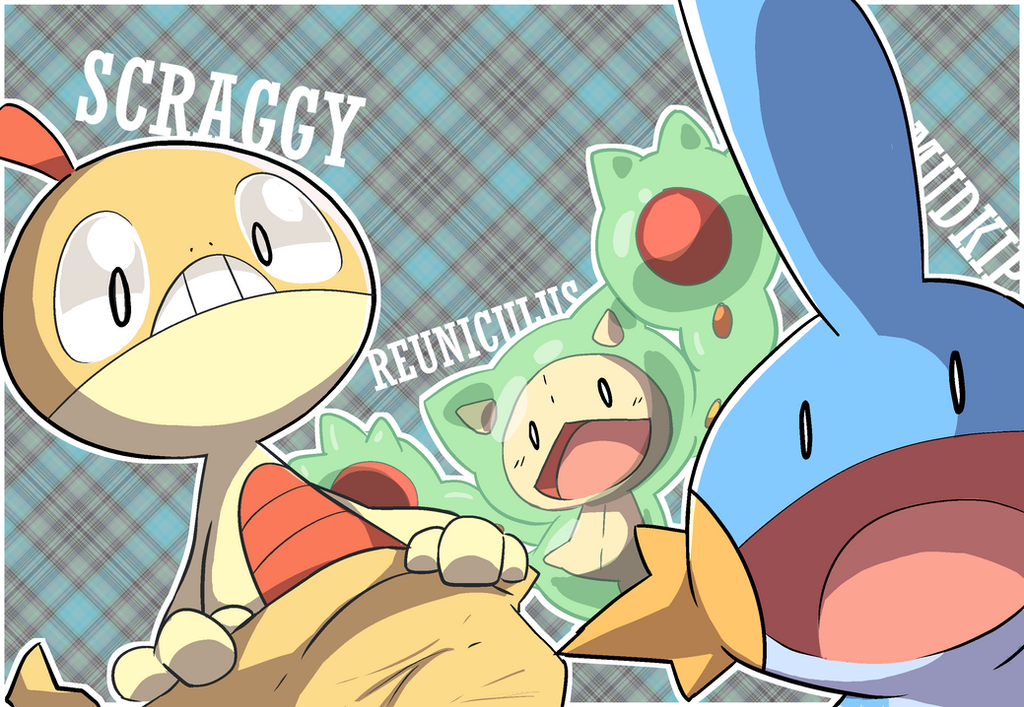 Scraggy Reuniclus and Mudkip again by Wile-Z-Kitsune