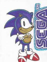 Sonic with SEGA Logo by bluesdevil