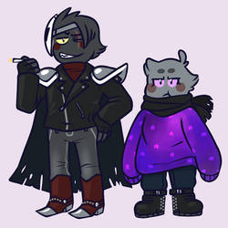 Dark Meta Knight and Shadow Kirby by D00pcakes