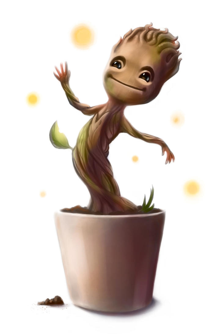 Baby Groot Postcard by CaffeineHeart