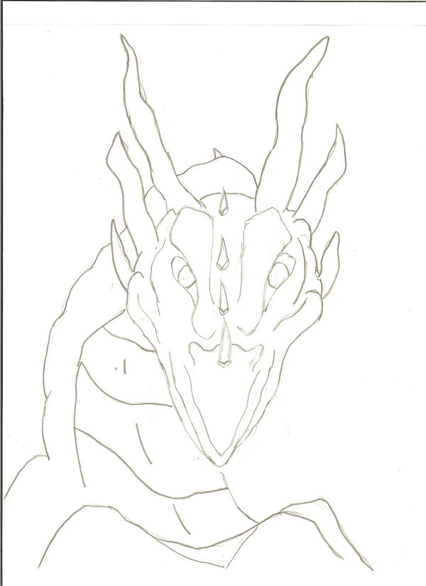 how to draw a dragon face front view