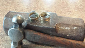 Finished Guatemalan quetzale coin rings