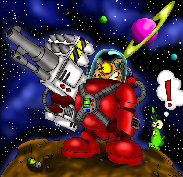 space pig with a big gun by richardsymonsart