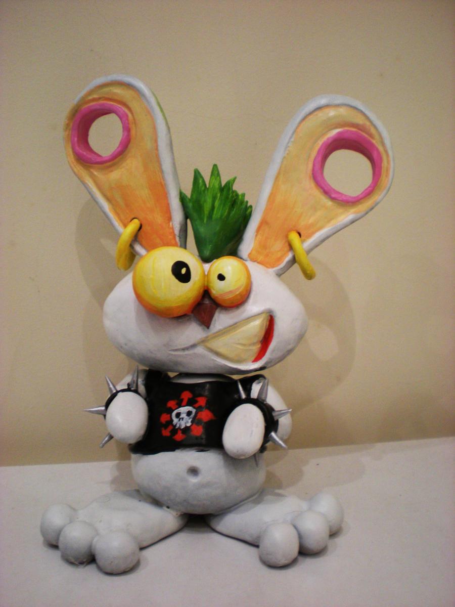 punk bunny sculpture by richardsymonsart