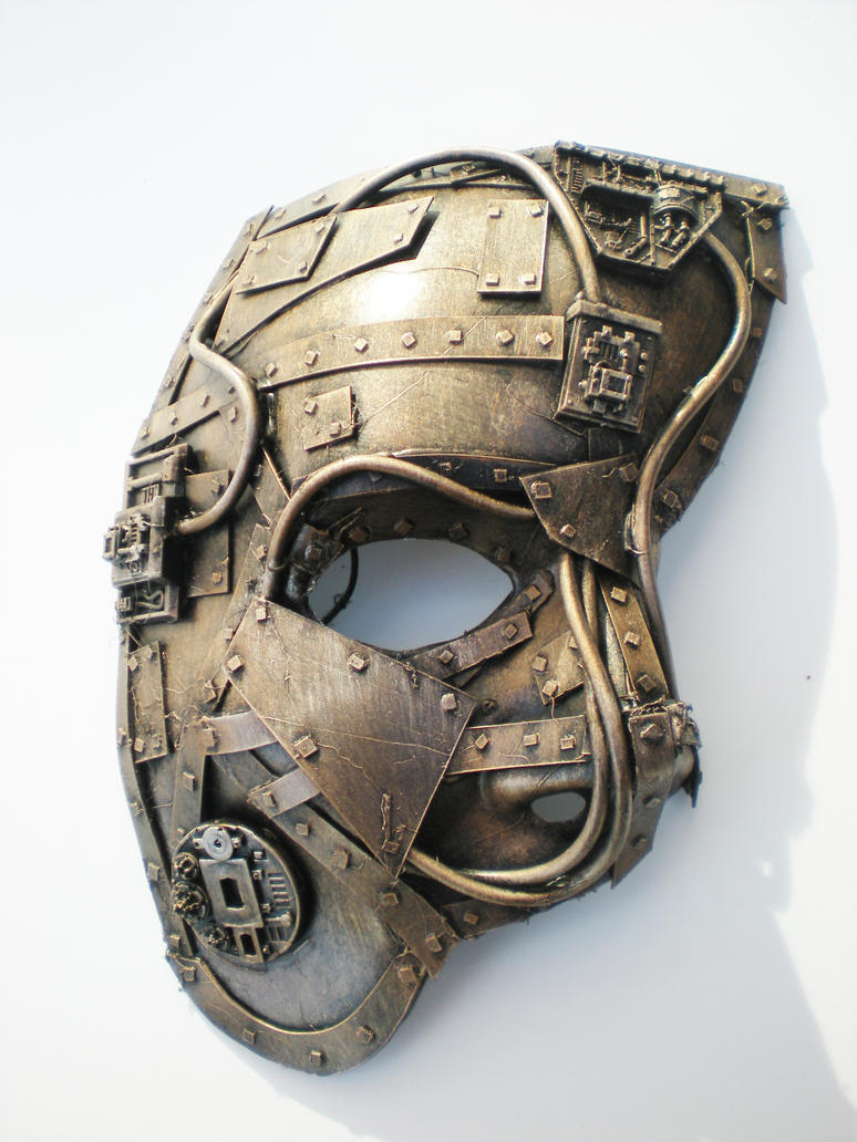 techno phantom mask, bronze by richardsymonsart