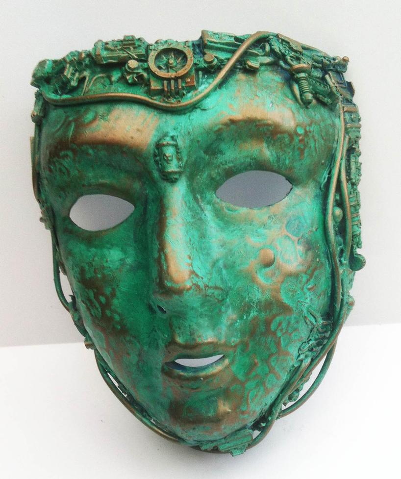 steampunk oxidised copper mask by richardsymonsart