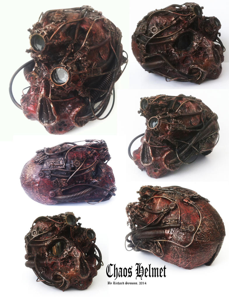 Chaos space marine helmet detail by richardsymonsart