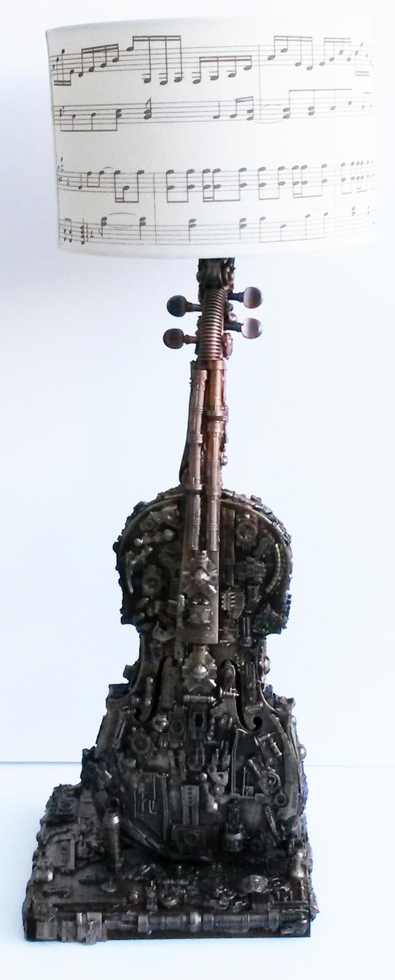 techno violin lamp sculpture by richardsymonsart