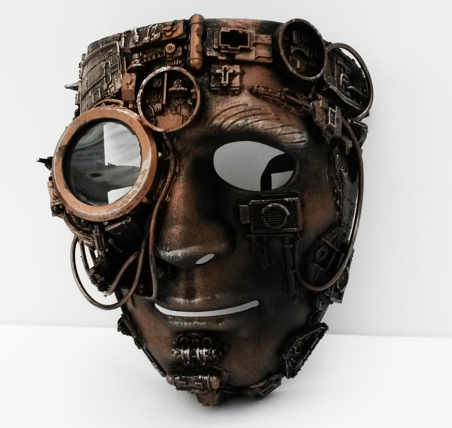 Steampunk mask with  large bionic eye by richardsymonsart