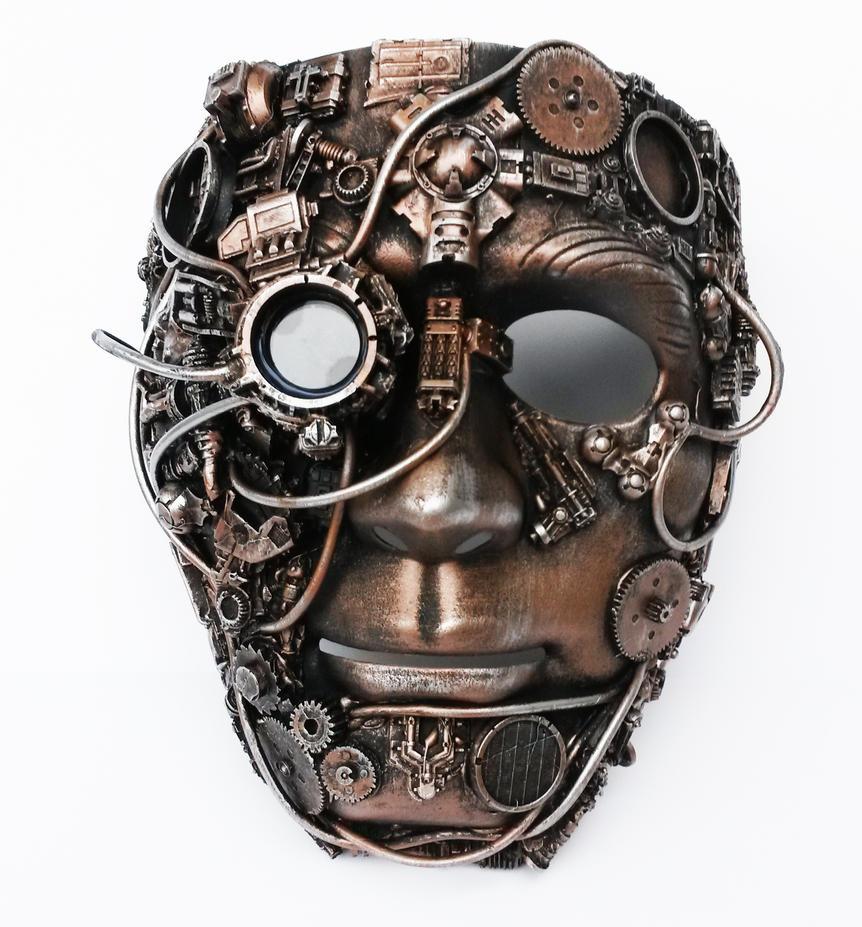 Steampunk mask with bionic eye copper finish. by richardsymonsart