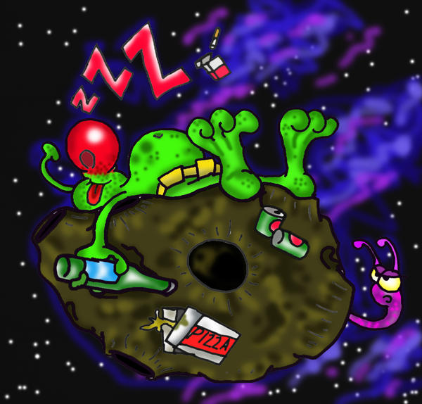sleeping on asteroid by richardsymonsart